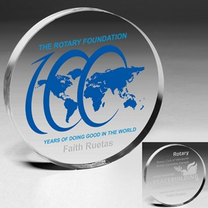 "Laser Engraved Acrylic Circle Paperweight (4""x 3/4"")"
